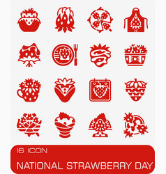 National strawberry day icon set vector