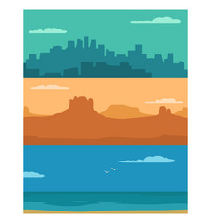 panorama night city day sea and sunset mountain vector image