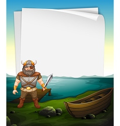 Paper design with viking at the sea vector