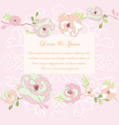 Pink rose flower and branch wedding card vector
