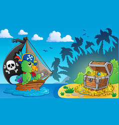 Pirate theme with treasure chest 4 vector