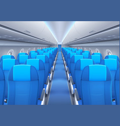 Plane or airplane cabin interior with seats vector