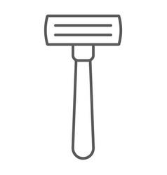 razor thin line icon barber and blade shaver vector image