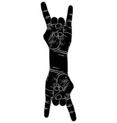 Rock on hand creative sign with two hands rock n vector image