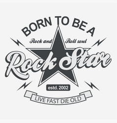 rock star lettering poster or t-shirt vector image