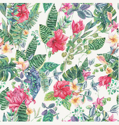Seamless pattern of tropical flowers and vector