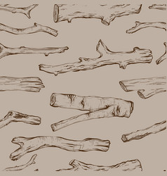 Seamless pattern with hand drawn rustic natural vector
