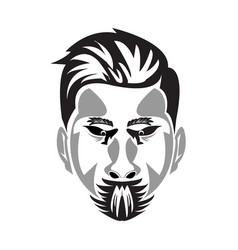 serious face in shadow in and isolated with a vector image