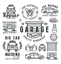 Set car repair badges and design elements vector
