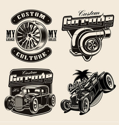set hot-rod themed vector image