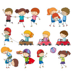 Set kids playing vector