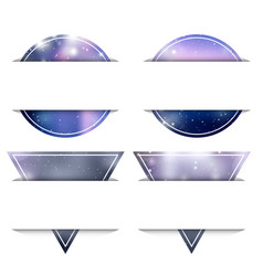 set of banners from circles and triangles with vector image