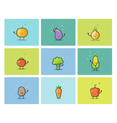 Set of flat vegetable icons cute cartoon vector