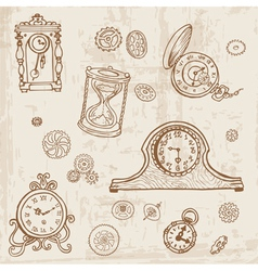 Set of Vintage Doodle Clock vector