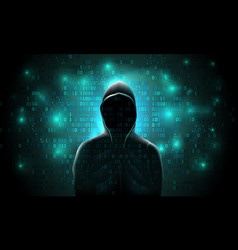 Silhouette a hacker on a background vector