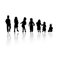 Silhouettes children vector