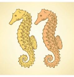 Sketch cute seahorse in vintage style vector