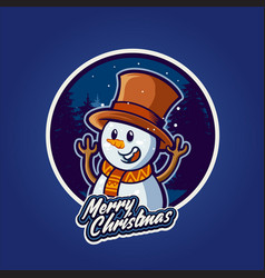 smiley snowman in merry christmas with background vector image