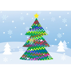 snowy winter landscape with christmas tree vector image