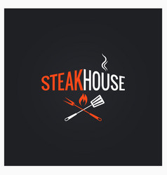 steak house logo steak house icon on black vector image