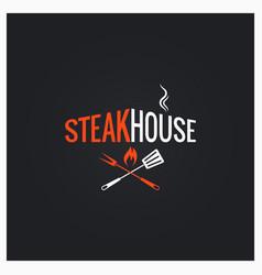Steak house logo steak house icon on black vector