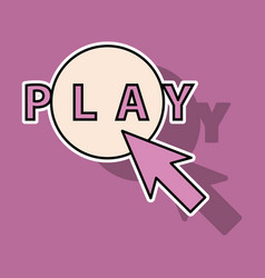 Sticker play sign flat style icon on background vector