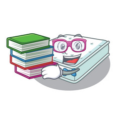 Student with book mattress in cartoon on the shape vector