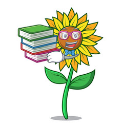Student with book sunflower mascot cartoon style vector