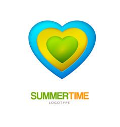 summer travel heart shape logo vector image