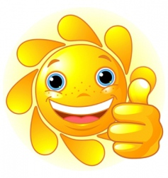 Sun hand giving thumbs up vector