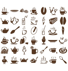 Tea and coffee icons on white vector