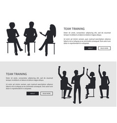 team training people black silhouettes sit chairs vector image
