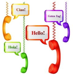 Telephone Handset with Talk Bubbles vector image