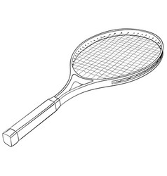 Tennis racket with a ball flat black hand drawn vector