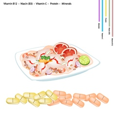 Thai Spicy Shrimp Salad with Vitamin B12 B3 and C vector