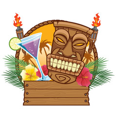 tiki mask with blank wood sign vector image