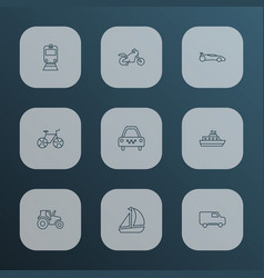 transit icons line style set with tractor train vector image