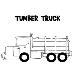 Tumber truck with hand draw vector