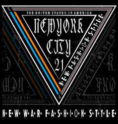 Typography new york tee logo design vector
