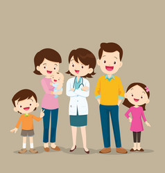 woman doctor and cute family with baby vector image