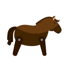 Wooden horse cute toy vector
