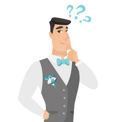 Young caucasian groom with question marks vector