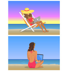 young girls work on laptop at sandy beach set vector image