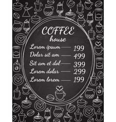 Coffee house chalkboard menu vector