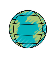 colored crayon silhouette of earth globe with vector image vector image