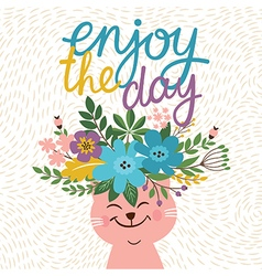 greeting card design enjoy the day lettering vector image vector image
