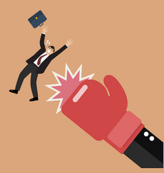 businessman punched by his boss big hand vector image