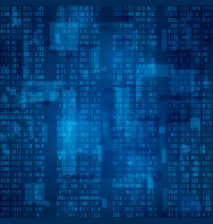 cyberspace stream of blue binary code futuristic vector image