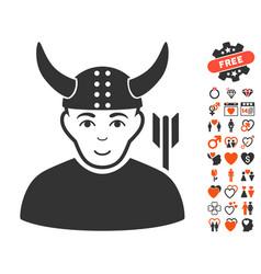horned warrior icon with valentine bonus vector image vector image