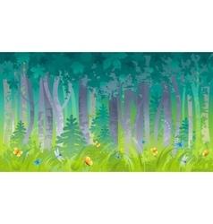 Spring summer forest wood landscape background vector image